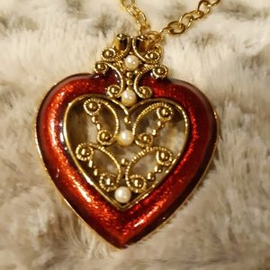 Vintage Avon Red Heart Enamel Bold Red